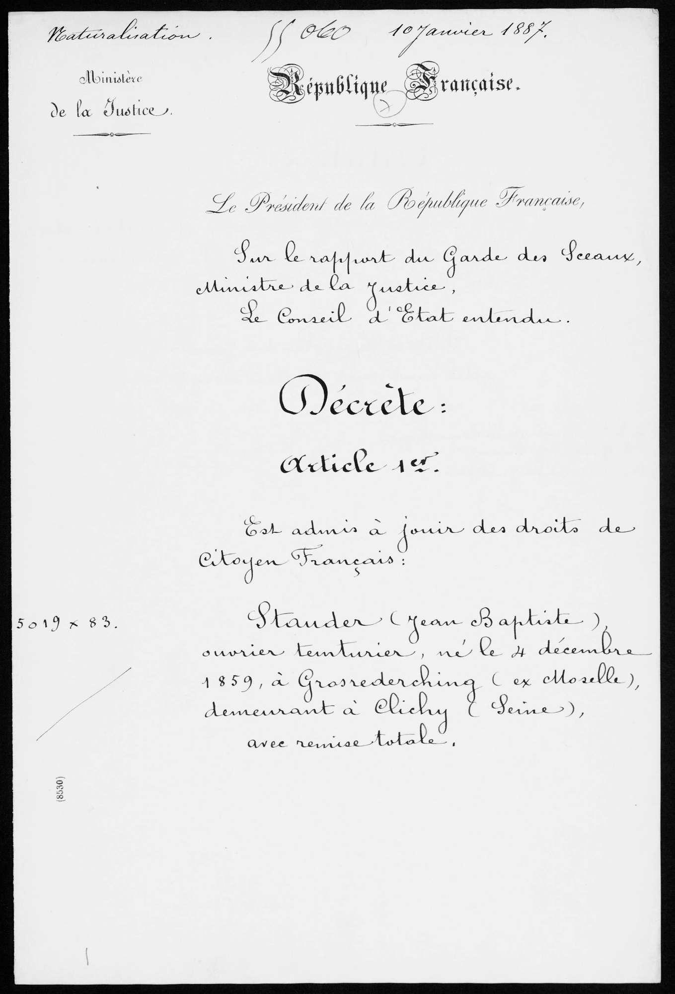 Indexation Des Décrets De Naturalisation Archives
