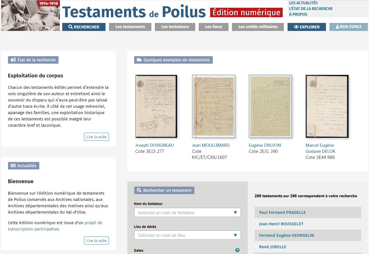 Edition numérique des testaments de Poilus